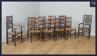 Antique Georgian Set Ten 10 Ash & Elm Spindle Back Country Kitchen Dining Chairs