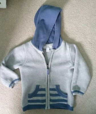 Baby Boy 12-18 Months Jacket Hoody Little White Company Blue Grey