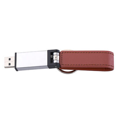 Easy Carrying Red PU Leather Material USB Flash U Stick Drive With Key Chain