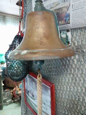 rare distressed vintage Antique 1939 Ships BRASS bell Nautical Marine Salvage