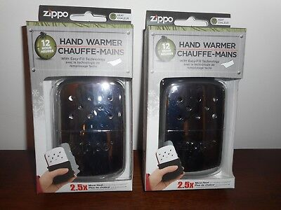 Two Zippo Hand Warmers 12 Hours Heating Time Chrome Finish New In Box