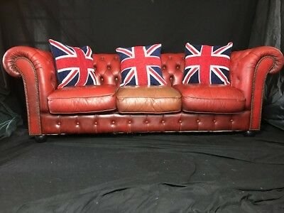 Chesterfield Style Leather Sofa Settee 3 Seater Oxblood Red Hotel Pub Cafe Bar