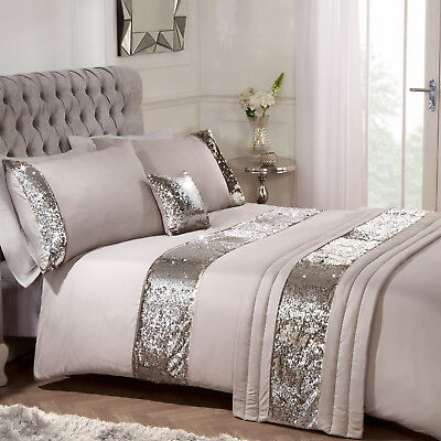 Sienna Sequin Duvet Cover with Pillow Case Luxury Bed Runner Set Mermaid, Mink