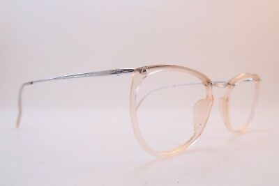 Vintage 50s white gold filled eyeglasses frames RUBIS clear light peach France