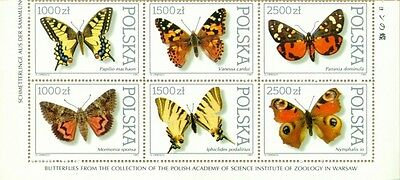 POLEN 1991 Set Butterflies collection of the Zoological Institute PAN
