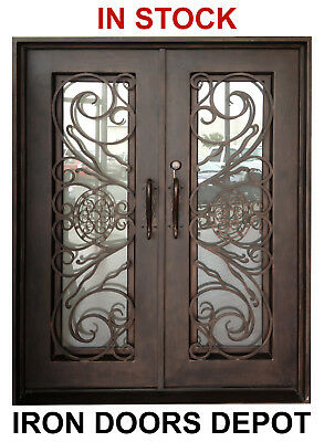 619D Double Front Entry Hand Forged Wrought Iron Door with Operable Glass