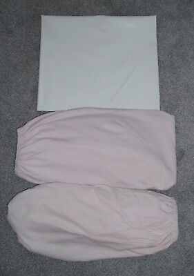 JERSEY FITTED COT SHEETS x 2 - NEXT - PINK + 1 x WHITE MATTRESS SLEEVE
