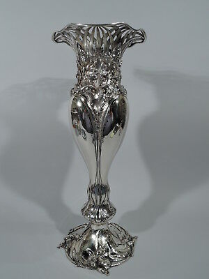 Antique Vase - 4213 - Tall Art Nouveau Iris Flowers - American Sterling Silver