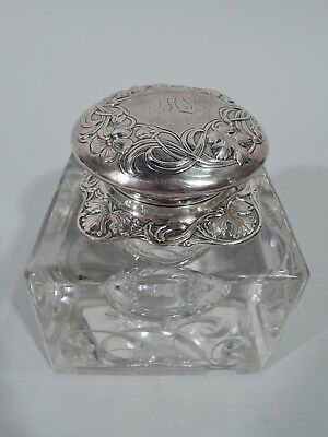 Gorham Inkwell - D788 - Antique Art Nouveau Inkpot - American Sterling Silver