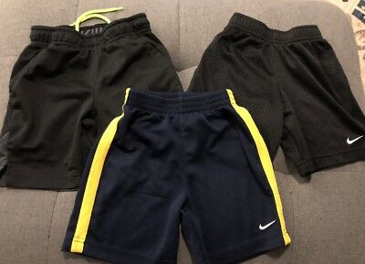 Lot Of 3 Pair Of Boys Nike Shorts Dri Fit Black Blue Yellow Sz 4 Good Deal