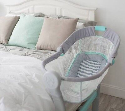 swaddleme by your bed sleeper in grey/teal