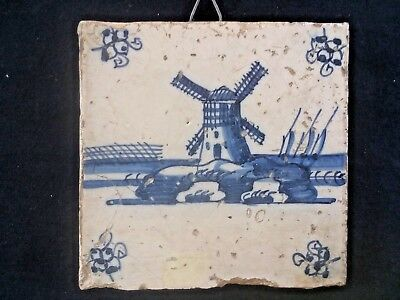 Antique DELFT Blue and White LANDSCAPE TILE