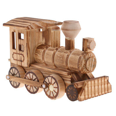 Retro Wooden Train Train Car Model Home Desk Office Decoration Kid Toy Gift