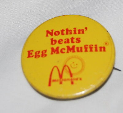 Vintage Egg McMuffin McDonald's Restaurant Advertising Pinback Button Pin 1.5""