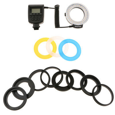 48 Macro LED Ring Flash w/ LCD Display Power Control Adapter Rings Diffusers