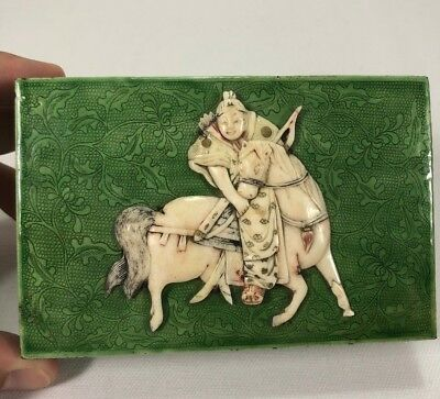 Beautiful Rare 19c Chinese Canton Enamel Box w Carved Horseman Warrior MUST SEE