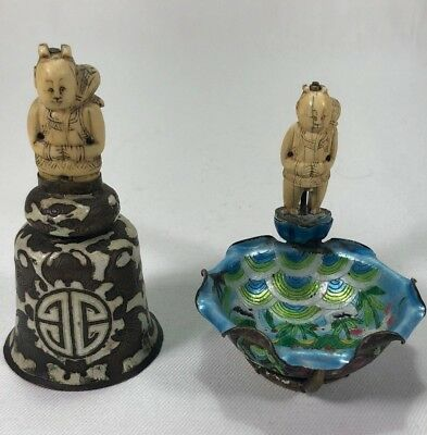 Beautiful Rare 19c Chinese Canton Enamel Bell & Dish Carved Figure Bats & Swans