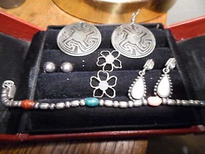 Sterling Silver Lot bracelet, earrings, flower pieces w stone, Bracelet 7.25 ""