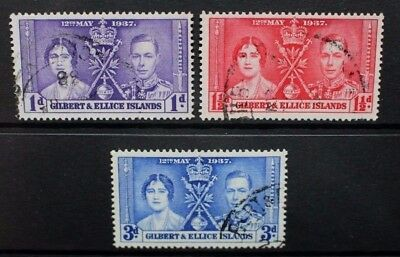 GILBERT & ELLICE ISLANDS 1937 Coronation. Set of 3. Fine USED. SG40/42