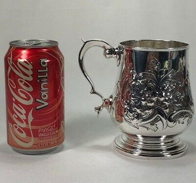 Great Antique English George III Silver / Copper Mug Floral Repousse Decorations