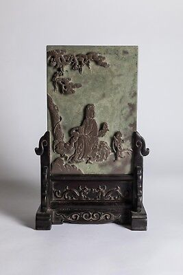 Late 19th Chinese Antique Carved Stone Table Screen