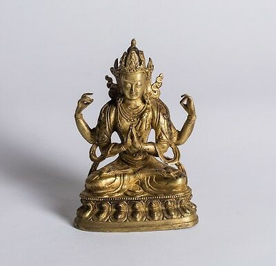 19th Chinese Antique Gilt-Bronze Figure Of Buddha