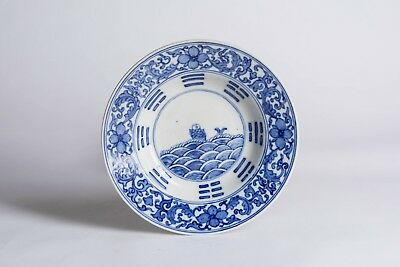 19th Kuangxu Mark Chinese Antique Blue & White Plate