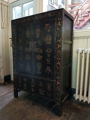 Genuine antique Oriental Chinese lacquered wedding cabinet - hand painted