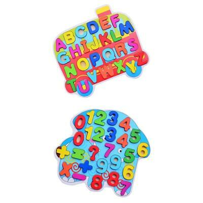 2x Colorful Wooden Puzzle Wooden Alphabet Numbers Blocks Kids Learning Toy