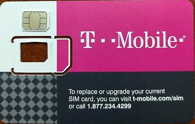 TMobile NANO Sim 4G LTE. UNACTIVATED SIM. USE FOR REPLACEMENT SIM CARD. 3in1