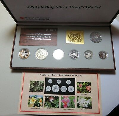 1994 Sterling Silver Proof Coin Set Singapore Plants And Flowers