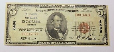 1929 Escanaba Michigan Five Dollar National Currency Note Serial F001407A