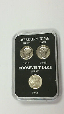 1916 -1946 Mercury Dime First & Last to First Roosevelt Dime Set of 3  #575Q