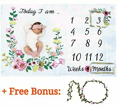 Baby Monthly Milestone Blanket for Girl Or Boy/Large  Soft/Newborn Photo Prop