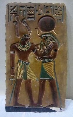 RARE ANCIENT EGYPTIAN ANTIQUE Ramses III and Horus Limestone Stela 1950-1870 BC