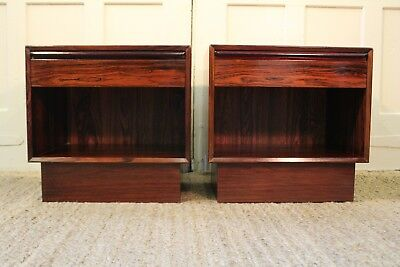 Mid Century Danish Modern Falster Rosewood Nightstands End Tables