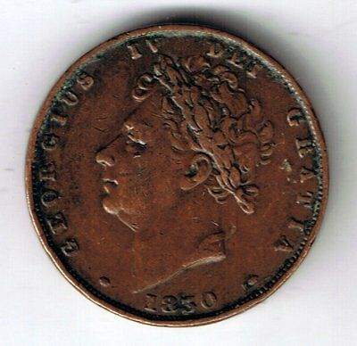 1830 George IV farthing 1/4d coin