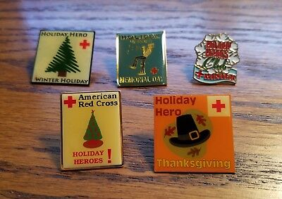RED CROSS HOLIDAY HERO'S PINS,  x 5  (#118)