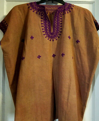 2X HANDMADE Mexican Blouse LightBrown Cotton Chiapas Purple Embroidery Preowned