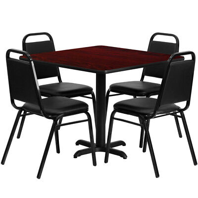 Square Table Set With 4 Trapezoidal Back Banquet Chairs