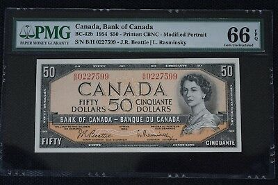 Bank of Canada 1954 $50 Modified PMG GEM66 EPQ