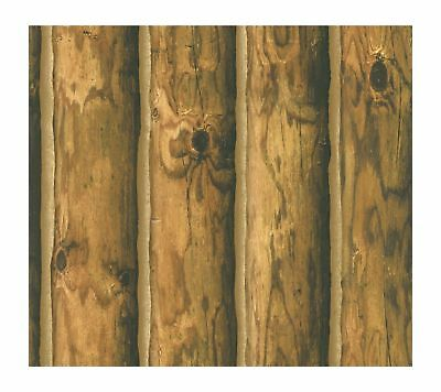 York Wallcoverings CH7980 Lake Forest Lodge Mountain Logs Wallpaper - Ultra R...