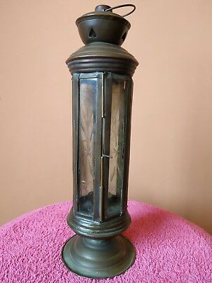 Antique Glass And Brass Nautical Lantern handmade rare Handle Vtg Ship Lantern