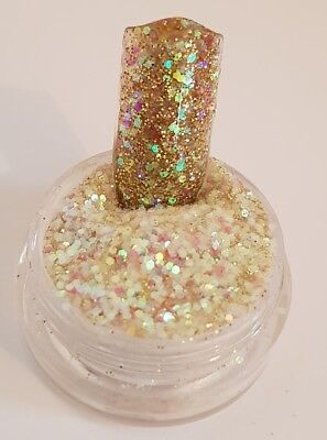 Gold coloured glitter acrylic powder pre-mixed 4g pot colour glitterama
