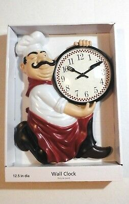 PIZZA MAN CLOCK Chunky Chef Has Pizza Clock With Fork & Knife Hands NEW PIZZERIA