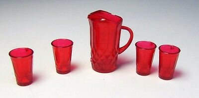 Dollhouse Miniature 1:12 Scale red Chrysnbon pitcher with 4 Glasses