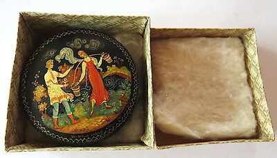 Vintage ROUND Soviet Russian Palekh MINIATURE Lacquer Box Signed Papers