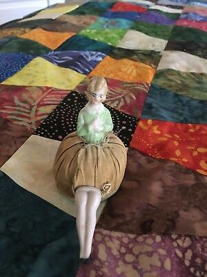 Tiny Victorian Porcelain Lady Doll with legs Pincushion