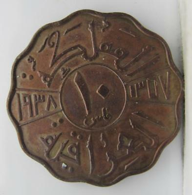 Iraq 1938 10-Fils! Minty+++! Km# 103! Really Nice Old Type Coin! Look!