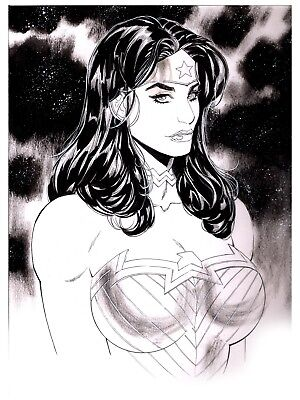 "WONDER WOMAN 9"" X 12"" ON BRISTOL INK SKETCH #1 by COVER"